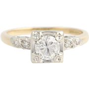Retro Diamond Engagement Ring - 14k White & Yellow Gold c.1940's - 50's .77ctw