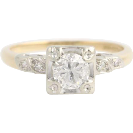 Retro Diamond Engagement Ring - 14k White & Yellow Gold c.1940's - 50's .77ctw
