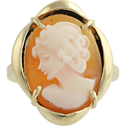 Vintage Carved Shell Cameo Ring - 14k Yellow Gold Women's Size 5