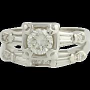 Retro Diamond Engagement Ring & Weeding Band Set - 14k White Gold .69ctw