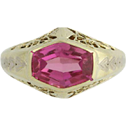 Vintage Synthetic Pink Sapphire Ring- 14k Yellow Gold Women's 5 3/4 Fine 2.00ctw