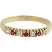 Synthetic Ruby & Cubic Zirconia Band - 18k Yellow Gold Ring CZ High Karat