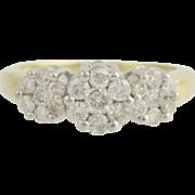 Diamond Cocktail Ring - 14k Yellow & White Gold Woman's 7 1/4 Genuine 1.00ctw