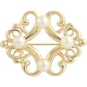 Cultured Pearl Brooch - 14k Yellow Gold Genuine 4.4mm - 4.5mm Fine June Gift