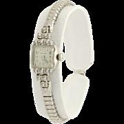 """Bulova Diamond Wristwatch 6"""" - 14k White Gold C. 1950 Quartz Stretch Band .10ctw"""