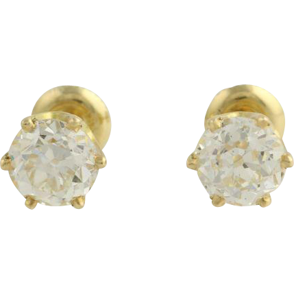 2.85ctw Old European Cut Diamond Earrings 18k Yellow Gold Vintage EGLUSA