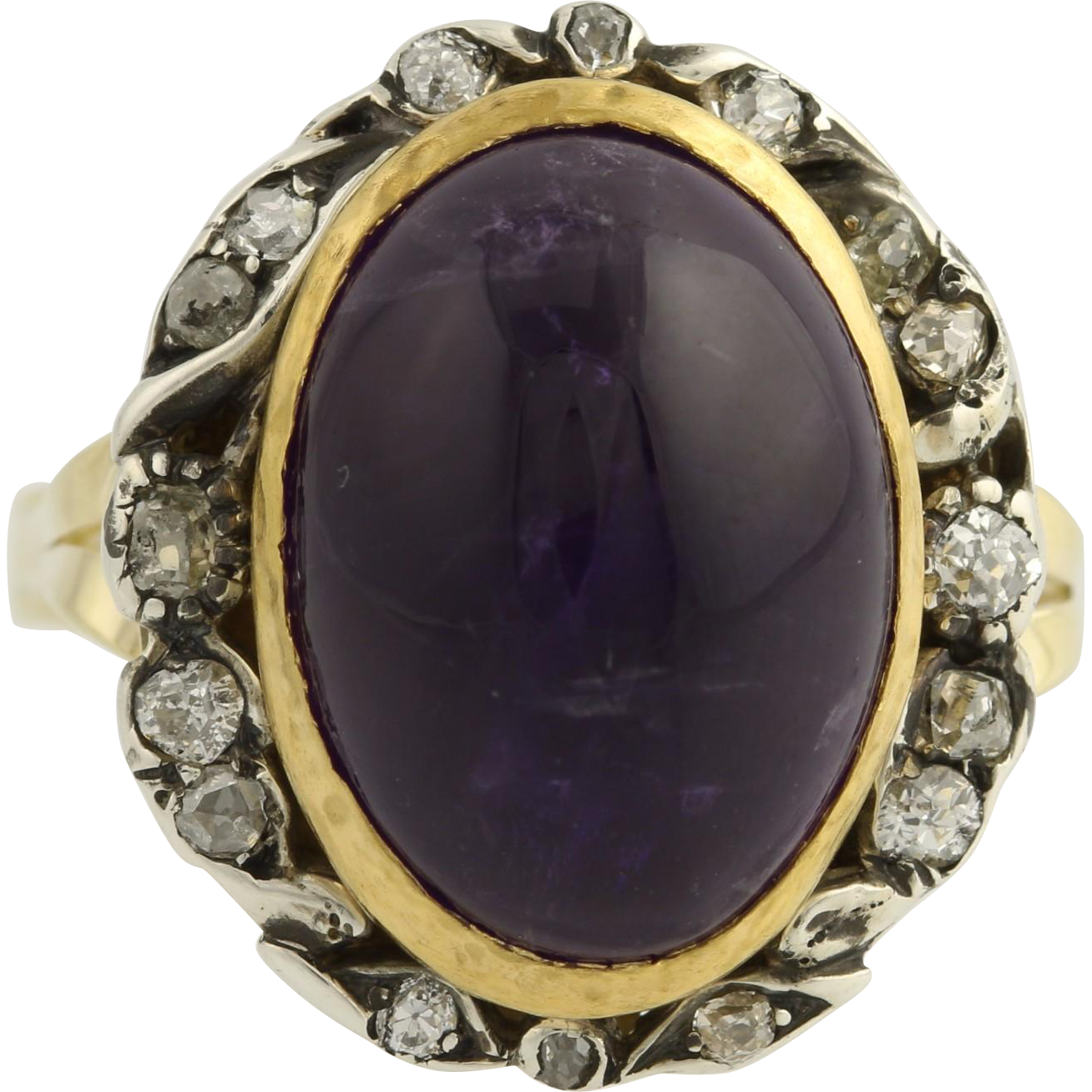 Vintage Amethyst and Diamond Ring - 14k Yellow Gold & Silver 9 1/2 Fine .33ctw R