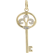 Diamond Key Pendant - 10k Yellow Gold Dangle Women's Fine Estate .03ctw Polished