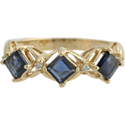 Sapphire & Diamond Ring - 14k Yellow Gold September Gift Genuine 1.06ctw