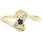 Sapphire & Diamond Bypass Ring-14k Yellow & White Gold September Genuine .15ctw