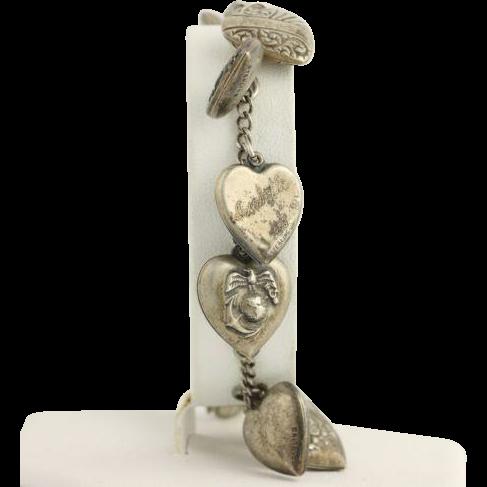 "1940s Puff Heart Charm Bracelet 7 1/2"" - Sterling Silver Enamel Vintage Gift"
