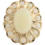 Opal Cocktail Ring - 14k Yellow Gold Oval Floral Halo Genuine Women's 3.73ctw
