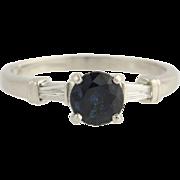 Sapphire & Diamond Engagement Ring - 900 Platinum Size 8 3/4 Genuine 1.51ctw