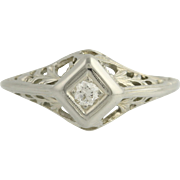 Art Deco Diamond Engagement Ring - 18k White Gold .07ct Filigree Vintage Unique Engagement Ring