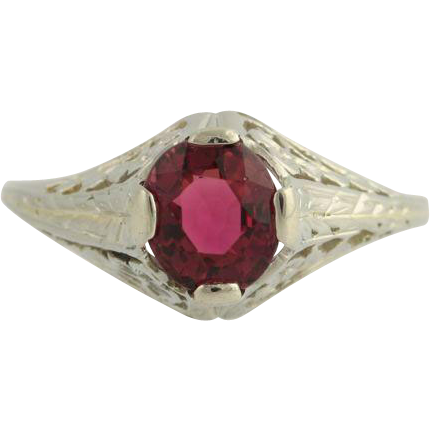 Belais Art Deco Rubellite Tourmaline Ring- 18k White Gold 8 1/2 Genuine 1.50ctw