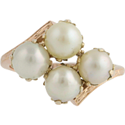 Vintage Cultured Pearl Cocktail Bypass Ring- 10k Rose Gold June Gift Size 4 1/2