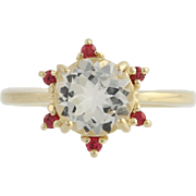 Crystal Quartz & Synthetic Ruby Cocktail Ring - 14k Yellow Gold 7 Fine 1.81ctw