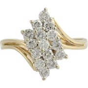 Tiered Diamond Cocktail Ring - 14k Yellow & White Gold Cluster Genuine 1.00ctw