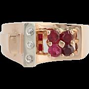 Retro Syn. Ruby & Diamond Cocktail Ring - 14k Rose Gold & Palladium Fine .35ctw