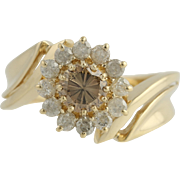 Floral Diamond Cocktail Bypass Ring - 14k Yellow Gold Women's 7 Genuine .96ctw