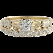 Retro Diamond Wedding Set - 14k Yellow & White Gold Circa 1948 Genuine .35ctw