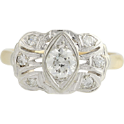 Art Deco Diamond Cocktail Ring - 14k Yellow & White Gold 6 3/4 Genuine .55ctw