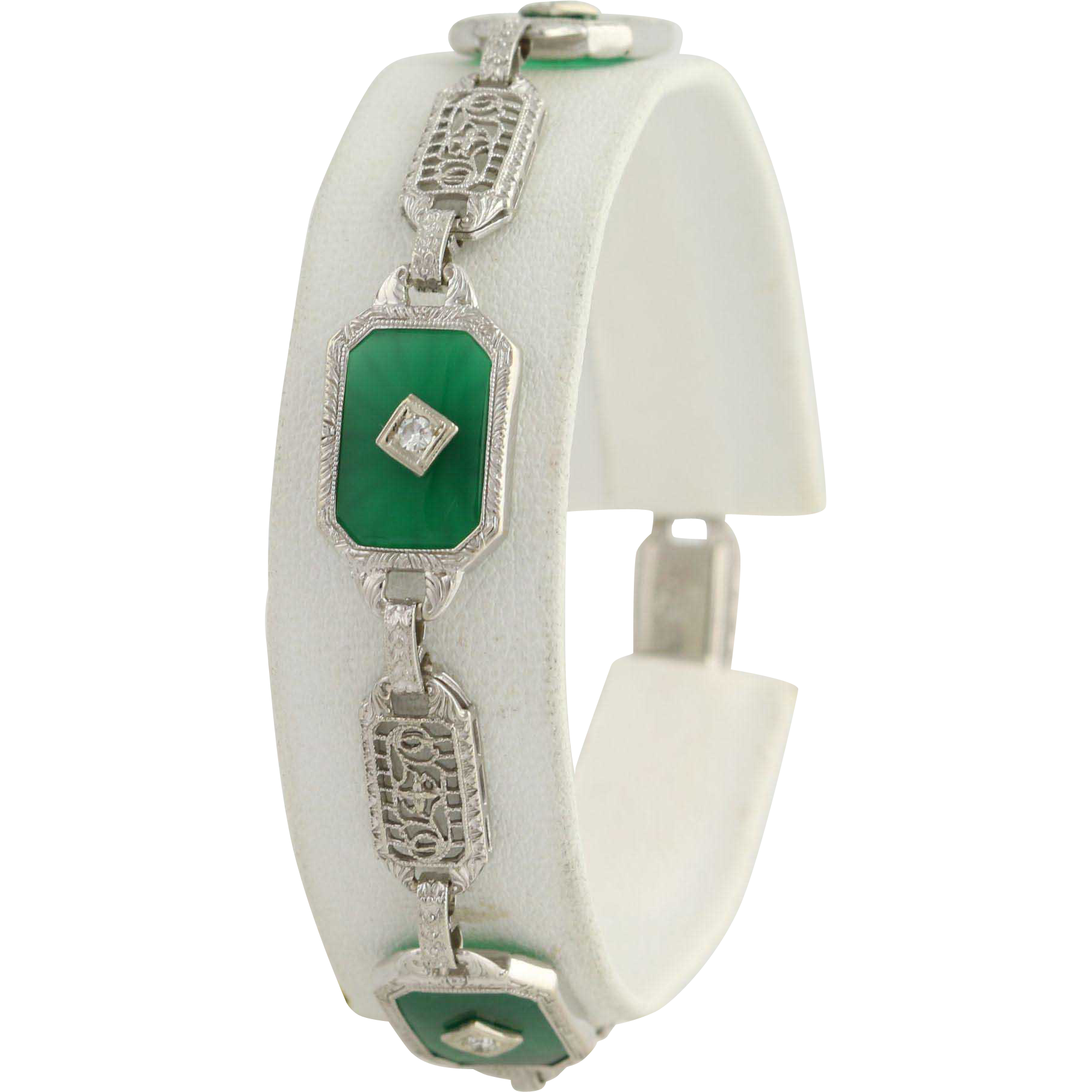 "Art Deco Green Chalcedony & Diamond Bracelet 7"" - 14k Gold & Platinum .12ctw"
