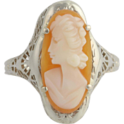 Art Deco Carved Shell Cameo Cocktail Ring - 14k White Gold Women's Size 9 1/4