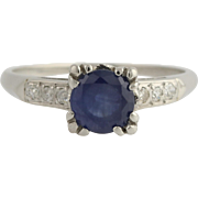 Retro Sapphire & Diamond Engagement Ring - Palladium Size 6 3/4 Genuine 1.32ctw