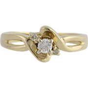 Diamond Engagement Ring - 14k Yellow & White Gold Size 4 1/2 Genuine .12ctw