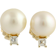 South Seas Pearl & Diamond Stud Earrings- 14k Yellow Gold Pierced Genuine .50ctw