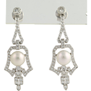 Diamond & Akoya Pearl Dangle Earrings - Platinum & 18k 2ctw 8mm Art Deco Style