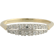 Vintage Diamond Wedding Band - 14k Yellow & White Gold Size 7 Genuine .12ctw