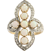 Vintage Opal & Diamond Cocktail Ring- 18k Gold & Sterling Silver Genuine 1.35ctw