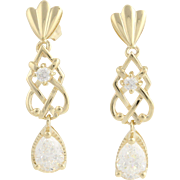 Cubic Zirconia Drop Earrings - 14k Yellow Gold Pierced Fashion CZ