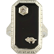 Art Deco Shriners Black Onyx & Diamond Ring - 14k White Gold Genuine .03ctw