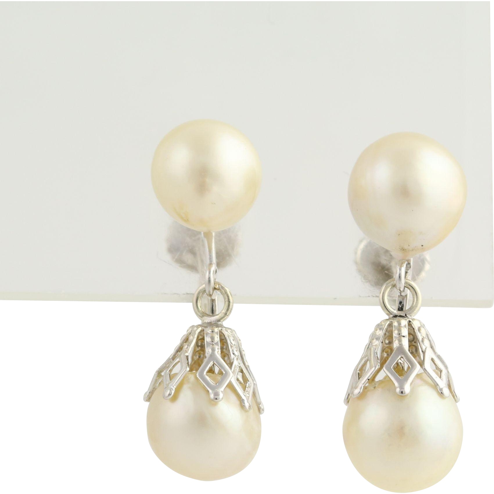 Pearl Drop Errings - Vintage Non Pierced Screw Back 14k White Gold Women's