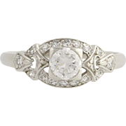 Art Deco Era Diamond Engagement Ring - 900 Platinum Size 6 1/2 Genuine .68ctw