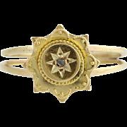Victorian Converted Stickpin Ring - 14k Yellow Gold Rose Cut Diamond Custom