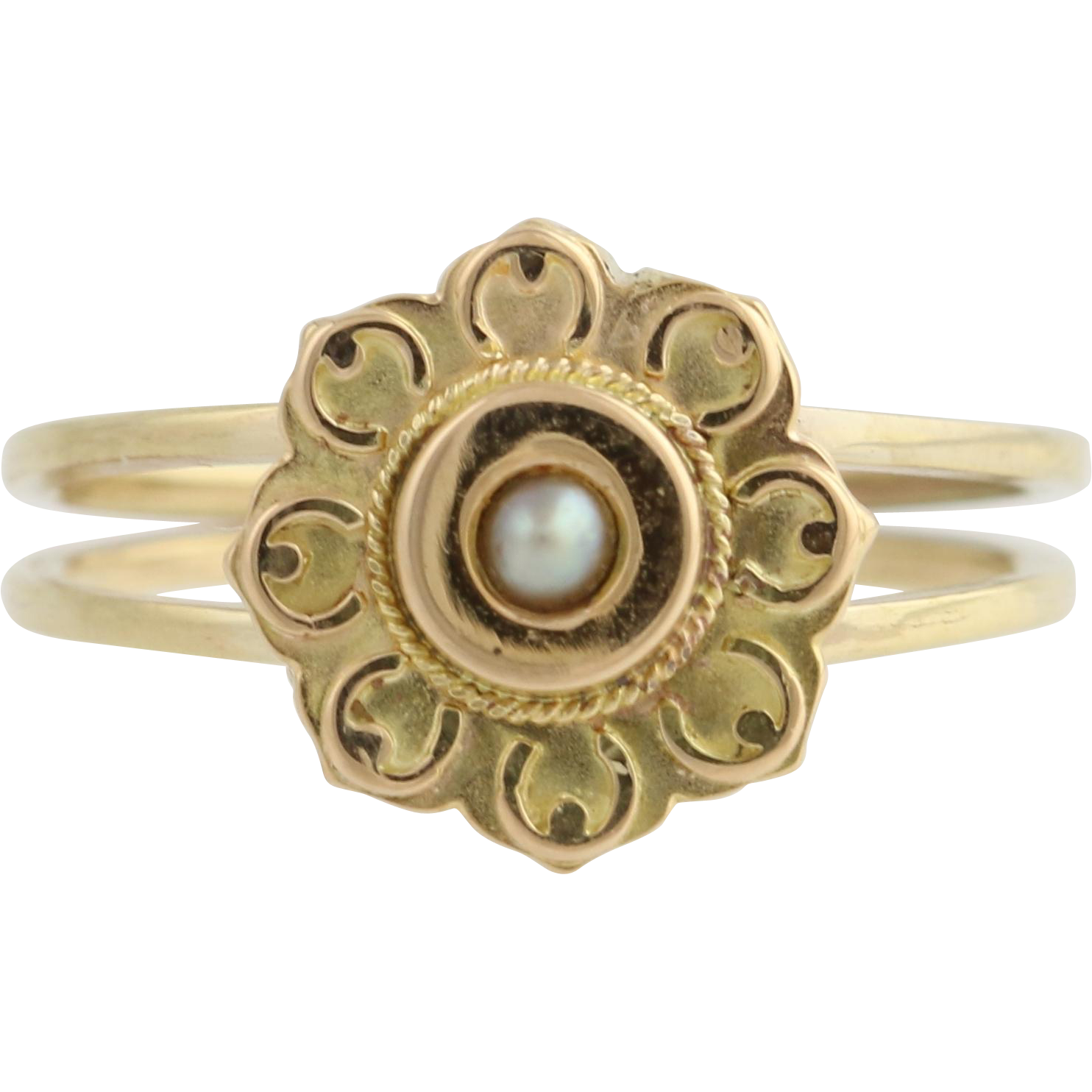 Victorian Converted Pearl Stickpin Ring - 14k Yellow Gold Size 5 1/2 Custom