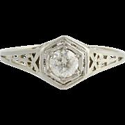 Art Deco Diamond Engagement Ring - 18k White Gold Old European Cut Fine .40ctw