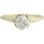 Art Deco Engagement Ring - 14k Yellow & White Gold Solitaire Genuine .94ctw