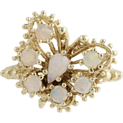 Opal Butterfly Cocktail Ring - 10k Yellow Gold October Birthstone Genuine .50ctw