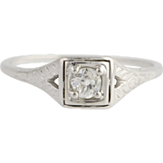 Art Deco Diamond Solitaire Engagement Ring - 18k White Gold Genuine .19ctw