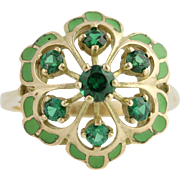 Simulated Emerald & Enamel Cocktail Ring - 10k Yellow Gold Women's 6 1/4 Fashion