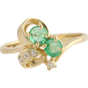 Emerald & Diamond Ring - 14k Yellow Gold Bypass May Birthstone Genuine .55ctw