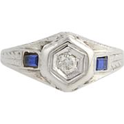 Art Deco Diamond & Synthetic Sapphire Engagement Ring- 18k White Gold Fine.46ctw