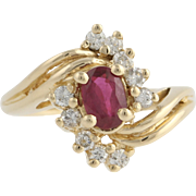 Ruby & Diamond Cocktail Bypass Ring - 14k Yellow Gold Size 5 Genuine .85ctw