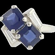 Sapphire & Diamond Cocktail Bypass Ring - 900 Platinum September Genuine 2.59ctw