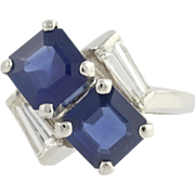 Sapphire & Diamond Cocktail Bypass Ring - 900 Platinum September Genuine 2.59ctw